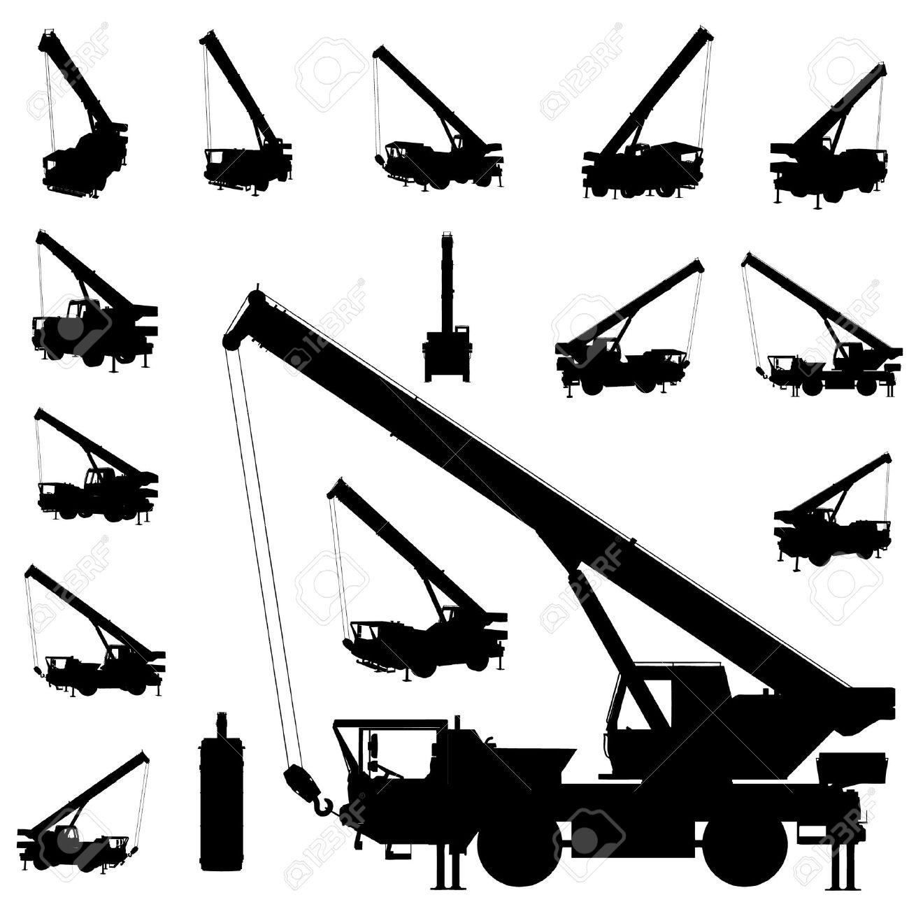 vector mobile crane silhouette set Stock Vector - 10592777