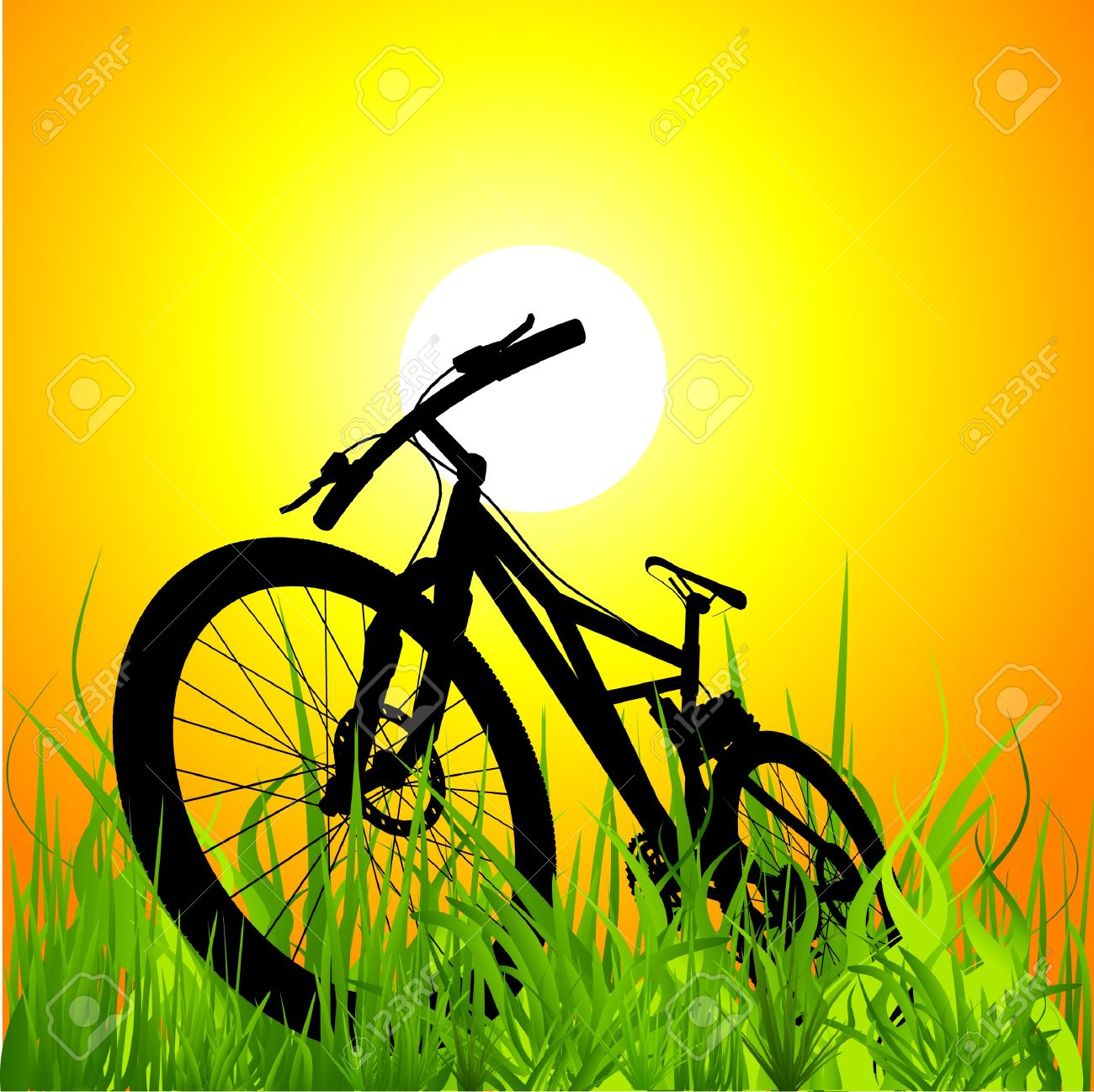 mountain bike on sunset Stock Vector - 10592816