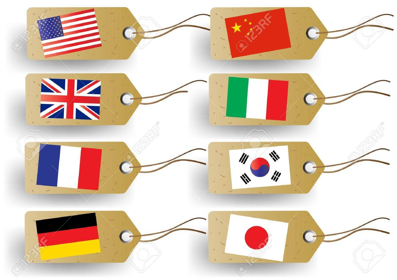 tags with national flags Stock Vector - 10592843