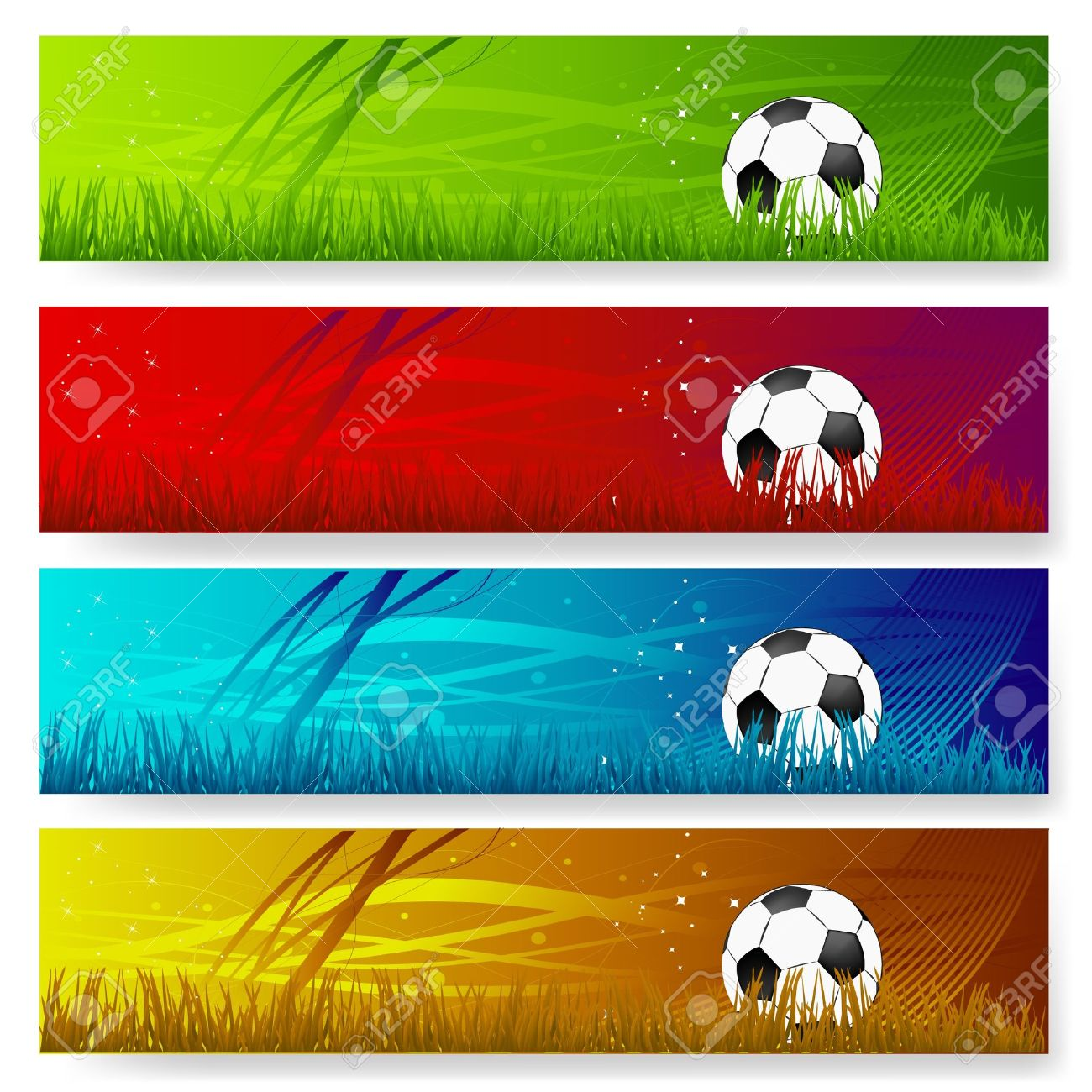 four multi colored soccer banners royalty free cliparts vectors
