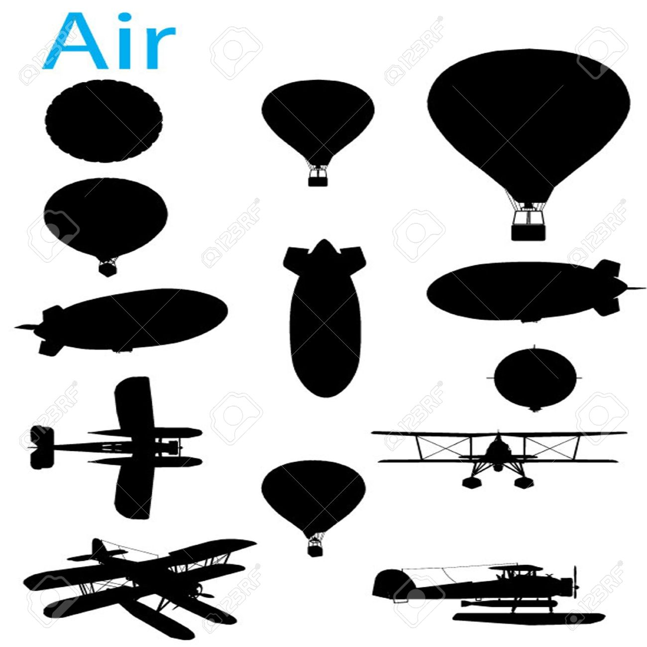 Vector Vintage Aviation Silhouette Set Royalty Free Cliparts