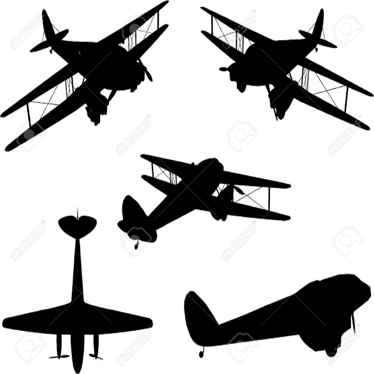 Vintage Plane Silhouette Set Royalty Free Cliparts Vectors And