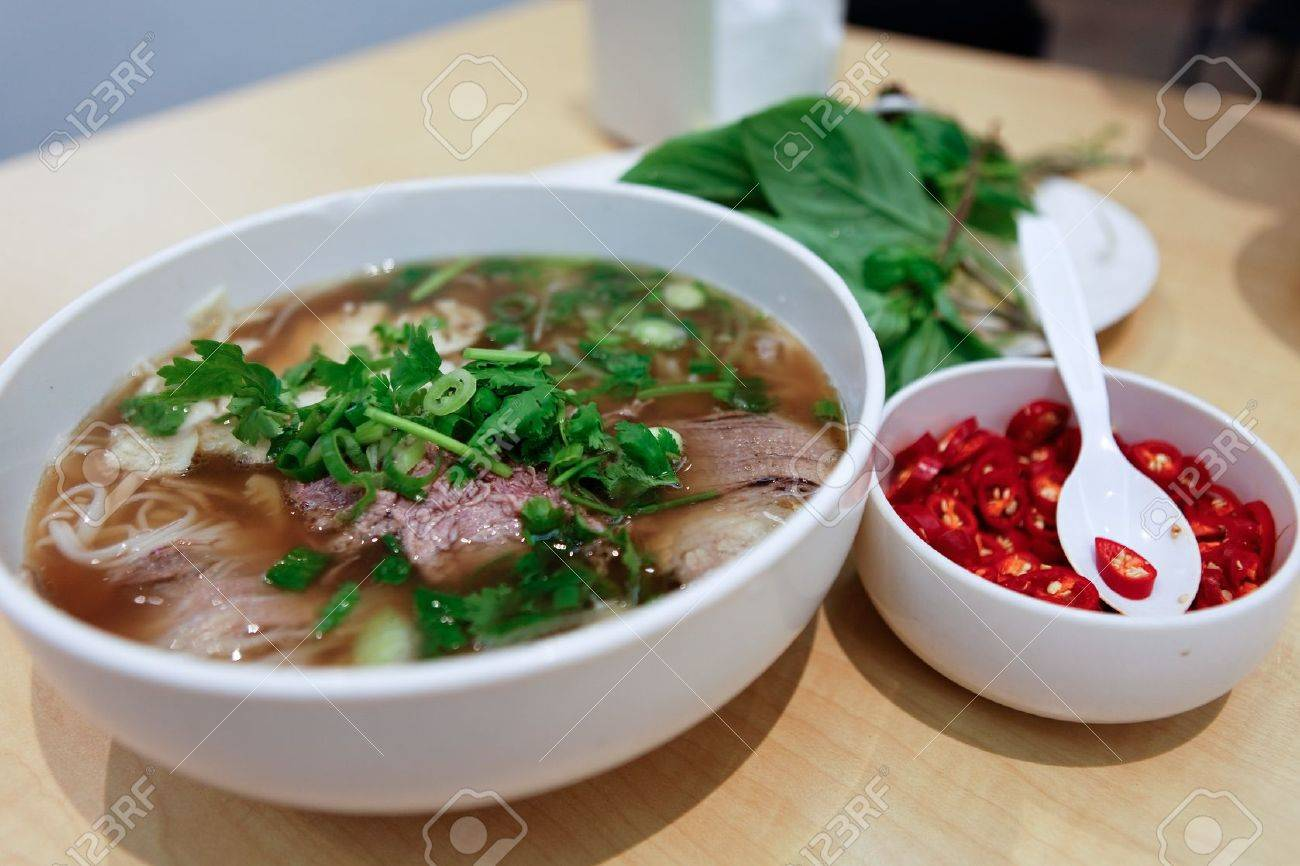 Vietnamese Beef Noodle Soup Pho Chilli Stock Photo, Picture And