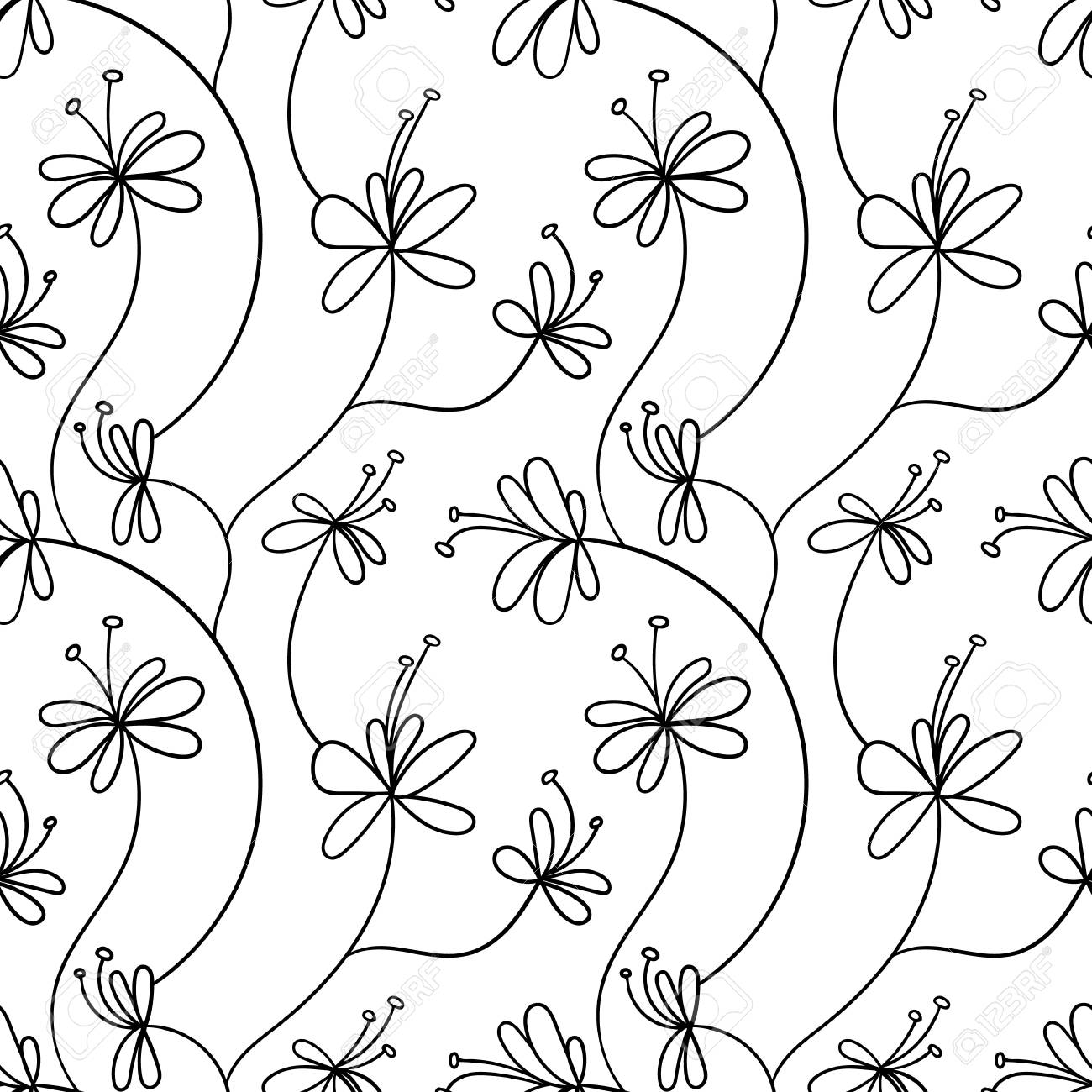 Vector Seamless Pattern Simple Hand Drawn Floral Background