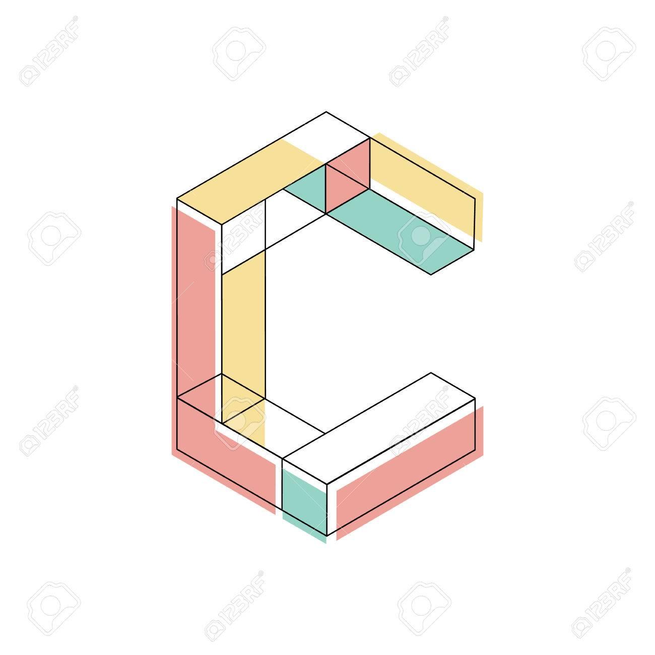 illustration capital letter C isometric design Foto de archivo - 64940093