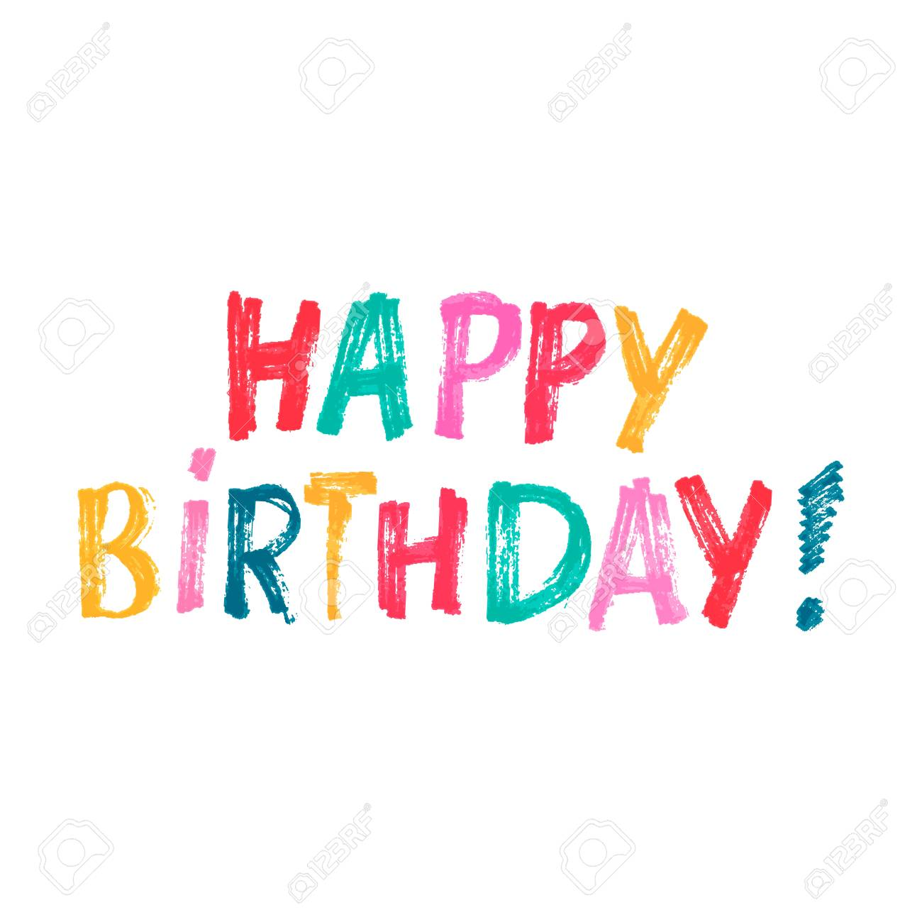 cute print with lettering happy birthday words by hand royalty