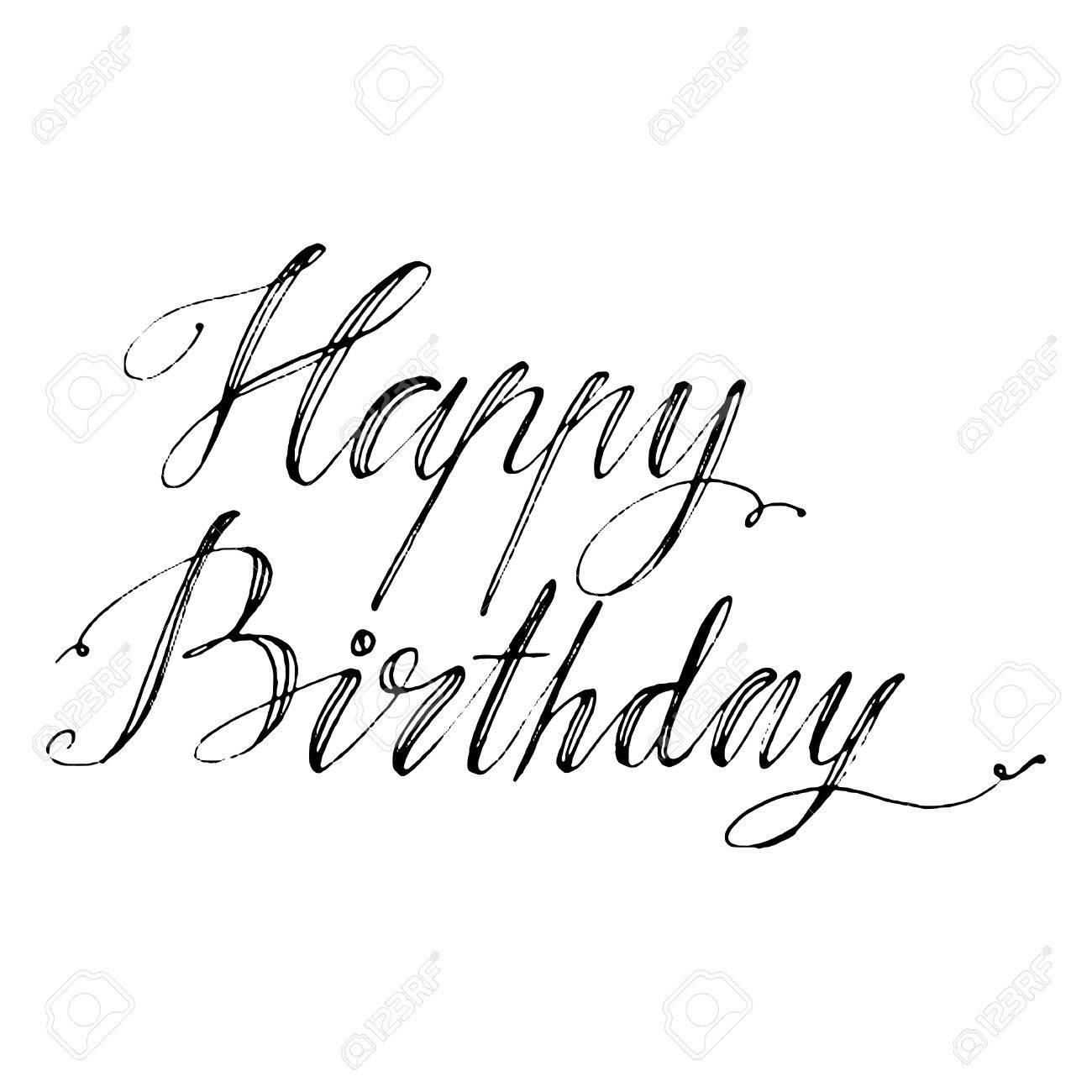 hand drawn vector lettering words happy birthday by hand isolated