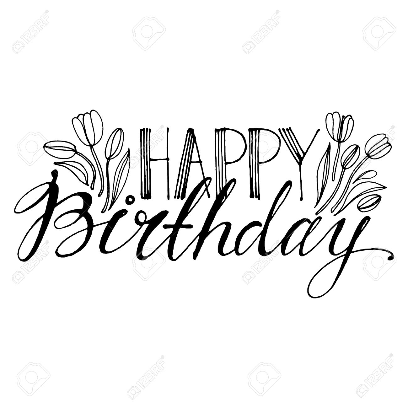 Hand drawn vector lettering words happy birthday with flowers hand drawn vector lettering words happy birthday with flowers by hand isolated vector illustration izmirmasajfo