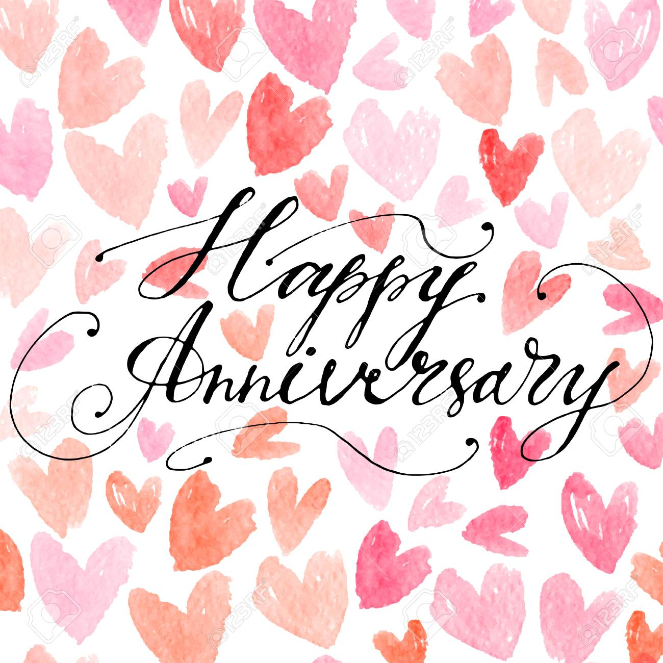 hand drawn vector lettering happy anniversary phrase by hand
