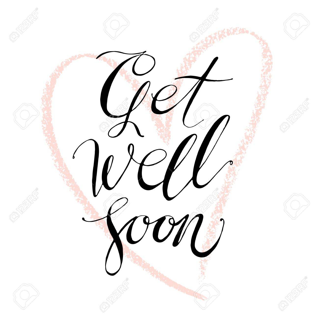 words get well soon by hand isolated vector illustration