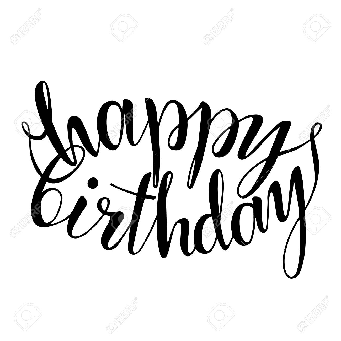 Happy Birthday Words Hand Drawn Creative Calligraphy And Brush Pen Lettering Design For Holiday