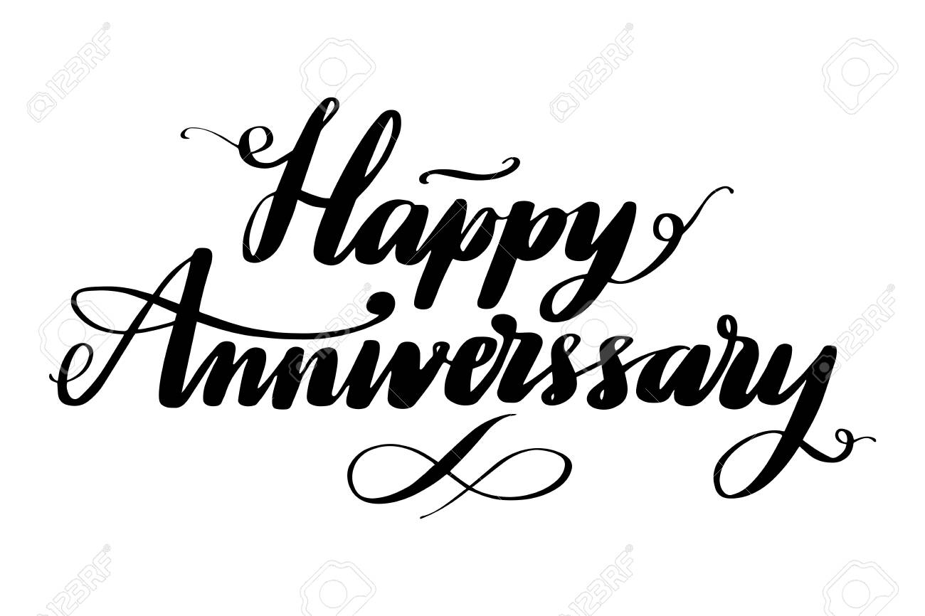 happy anniversary hand drawn vector lettering isolated vector illustration handwritten modern calligraphy inscription