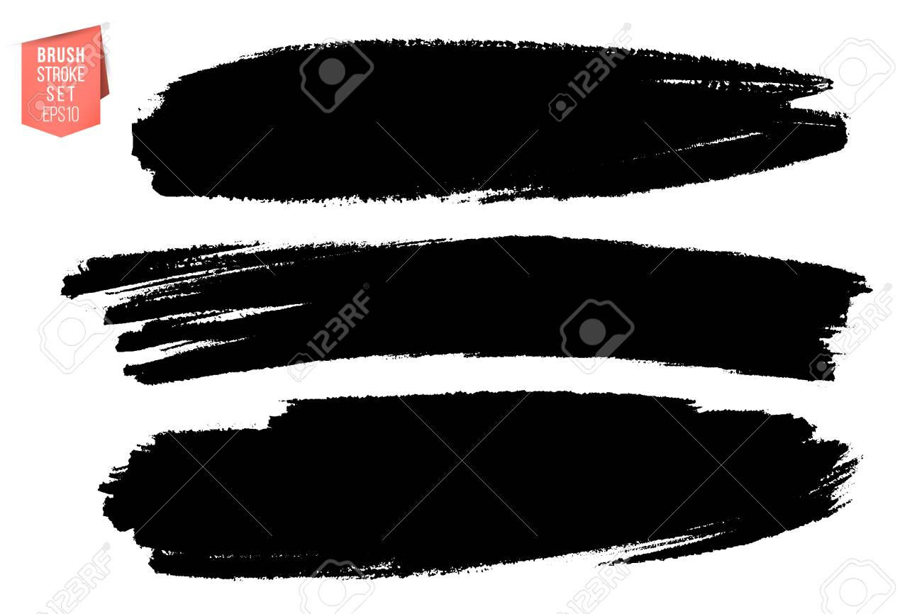 Vector set of hand drawn brush strokes, stains for backdrops. Monochrome design elements set. Black color artistic hand drawn backgrounds various shape - 126944332