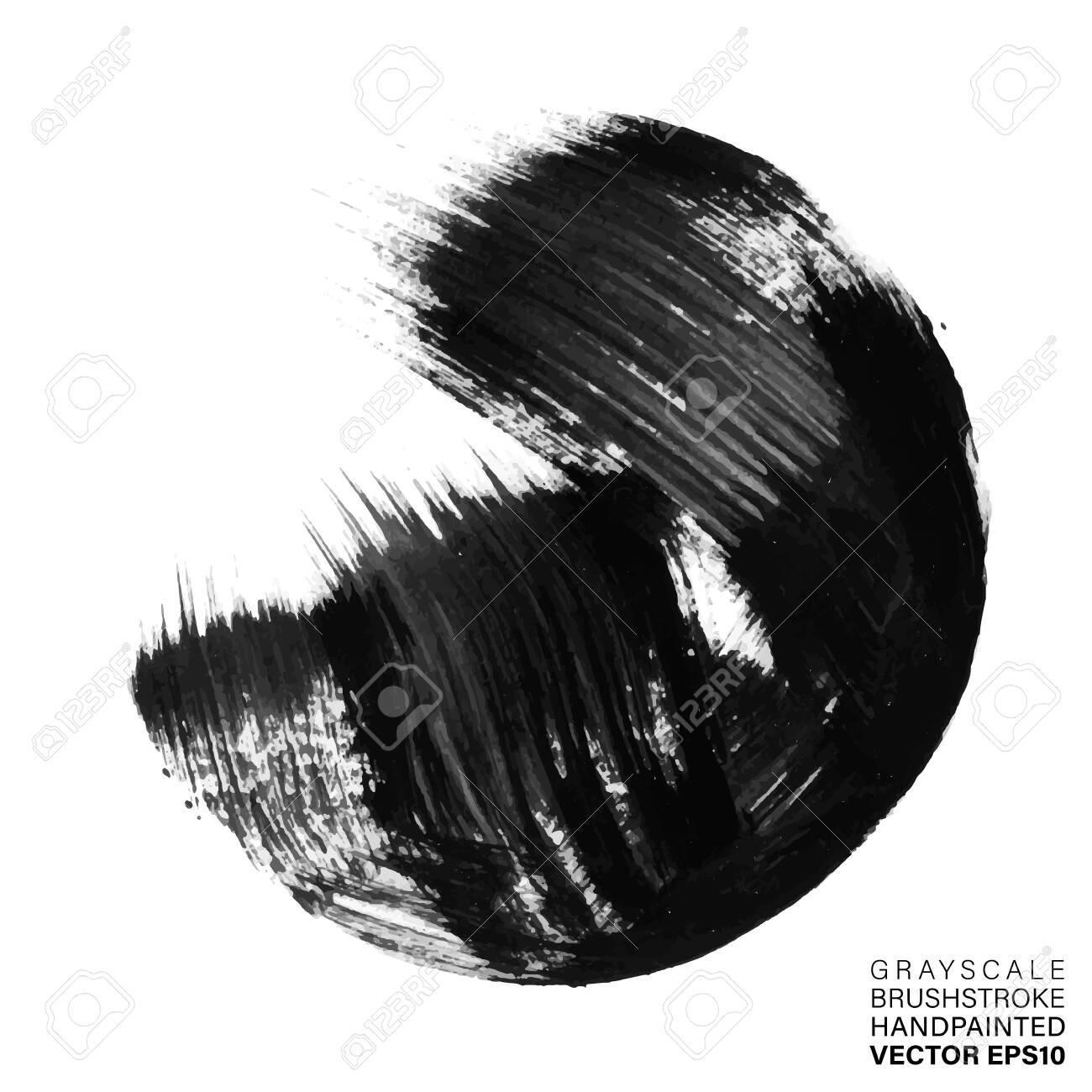 Grayscale hand painted stroke. Vector multicolor artistic stroke for backdrop. Brush painted ink circle. Grungy paint spot - 122980246