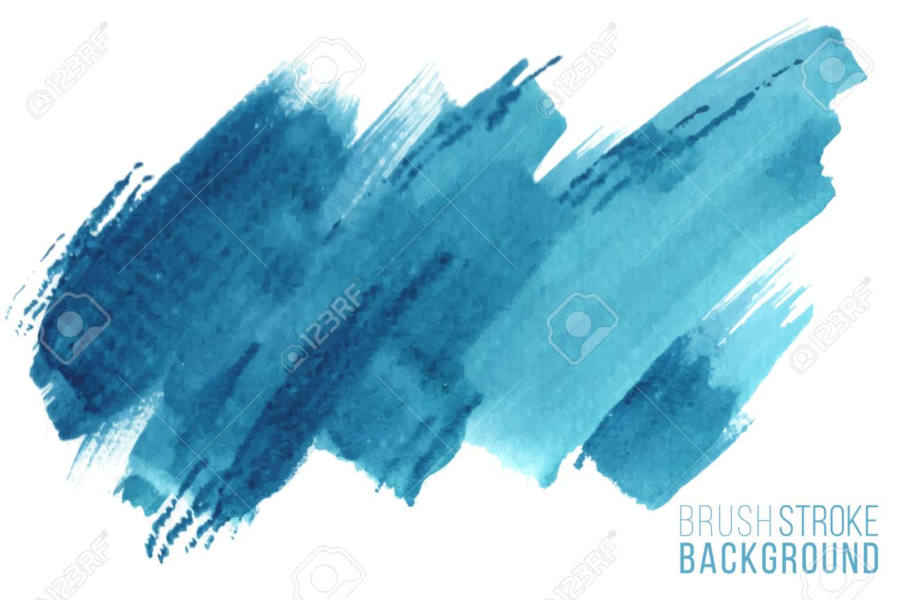 Colorful painted stroke. Vector hand drawn watercolor brush stain. Blue color hand drawn background - 122484210