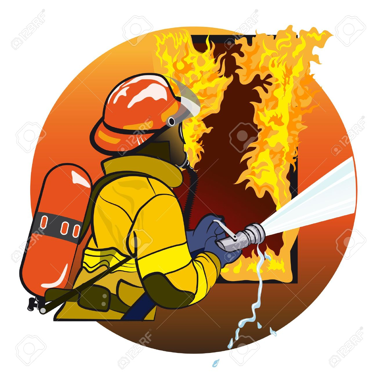 Firefighter extinguishes fire  The emblem Stock Vector - 13037677