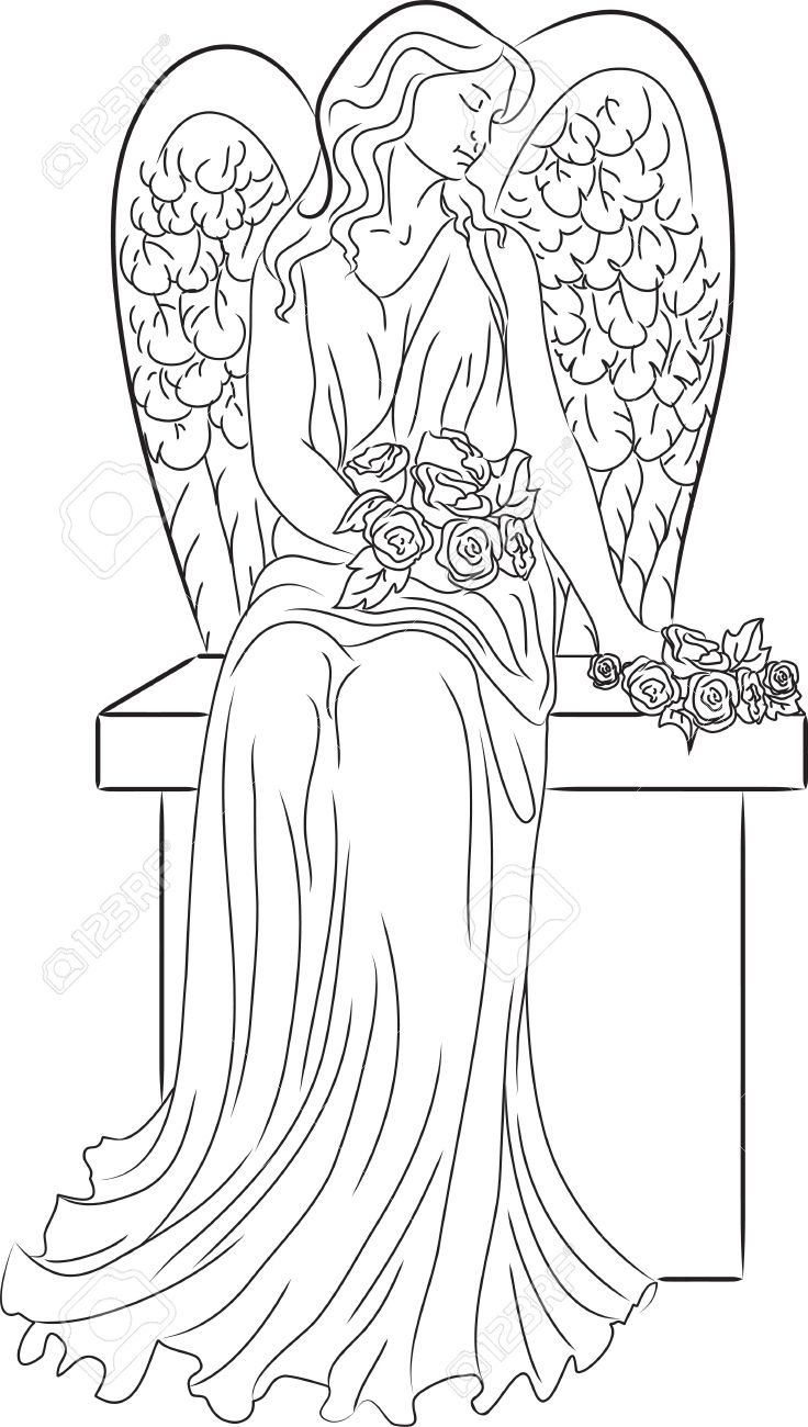 Angel with Roses Stock Vector - 13329129