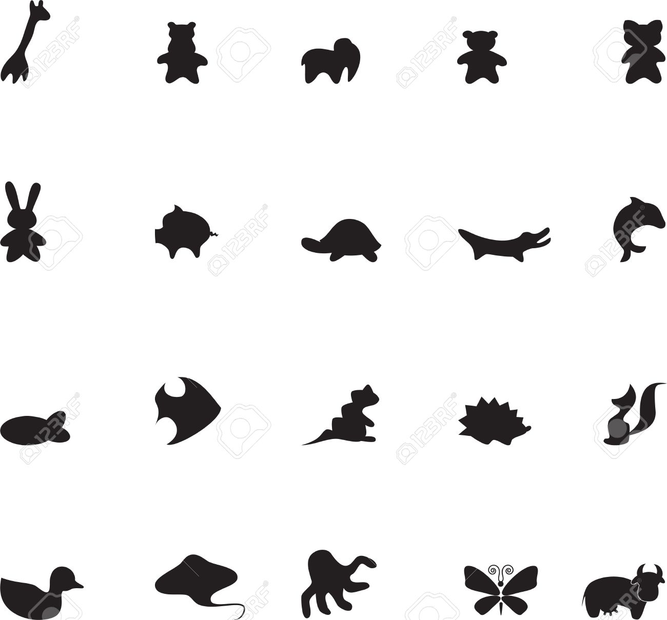 Set of contour animals for childrens illustrations 1 Stock Vector - 13329111