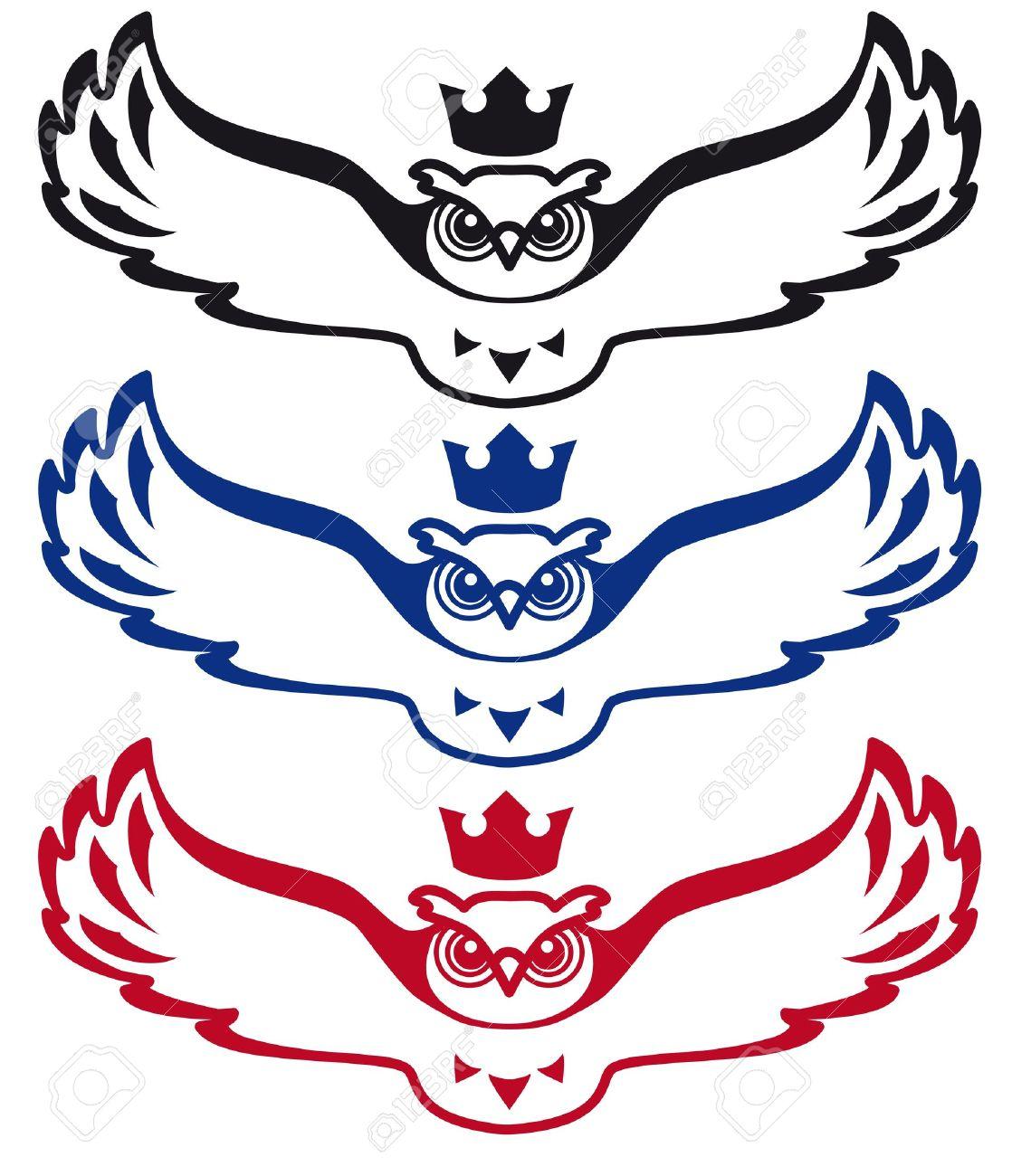 La Chouette Symbole voler chouette avec une couronne sur sa tête, l'image peut être être