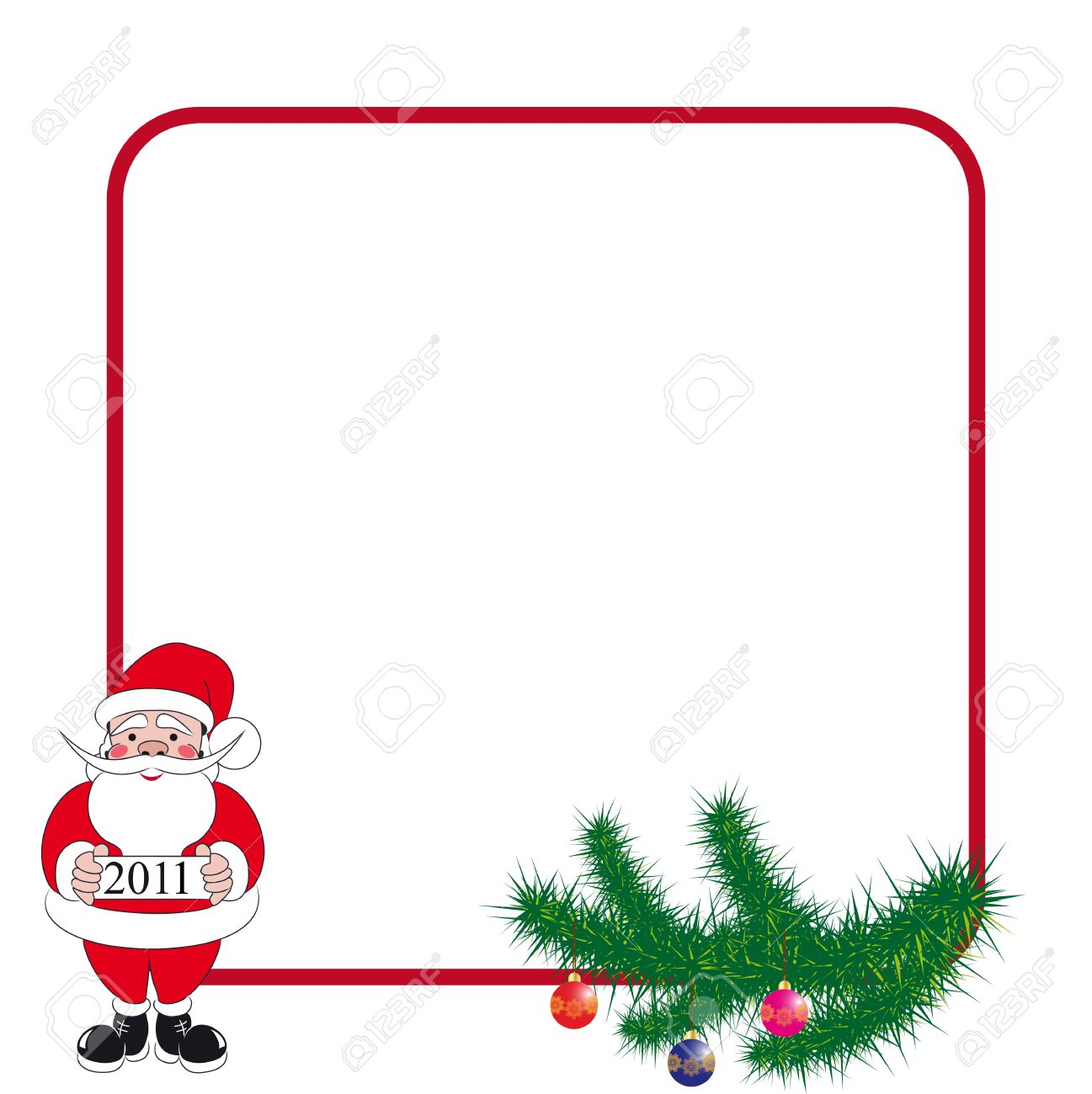 Greeting Frame With Santa Claus And Spruce Branches For Christmas
