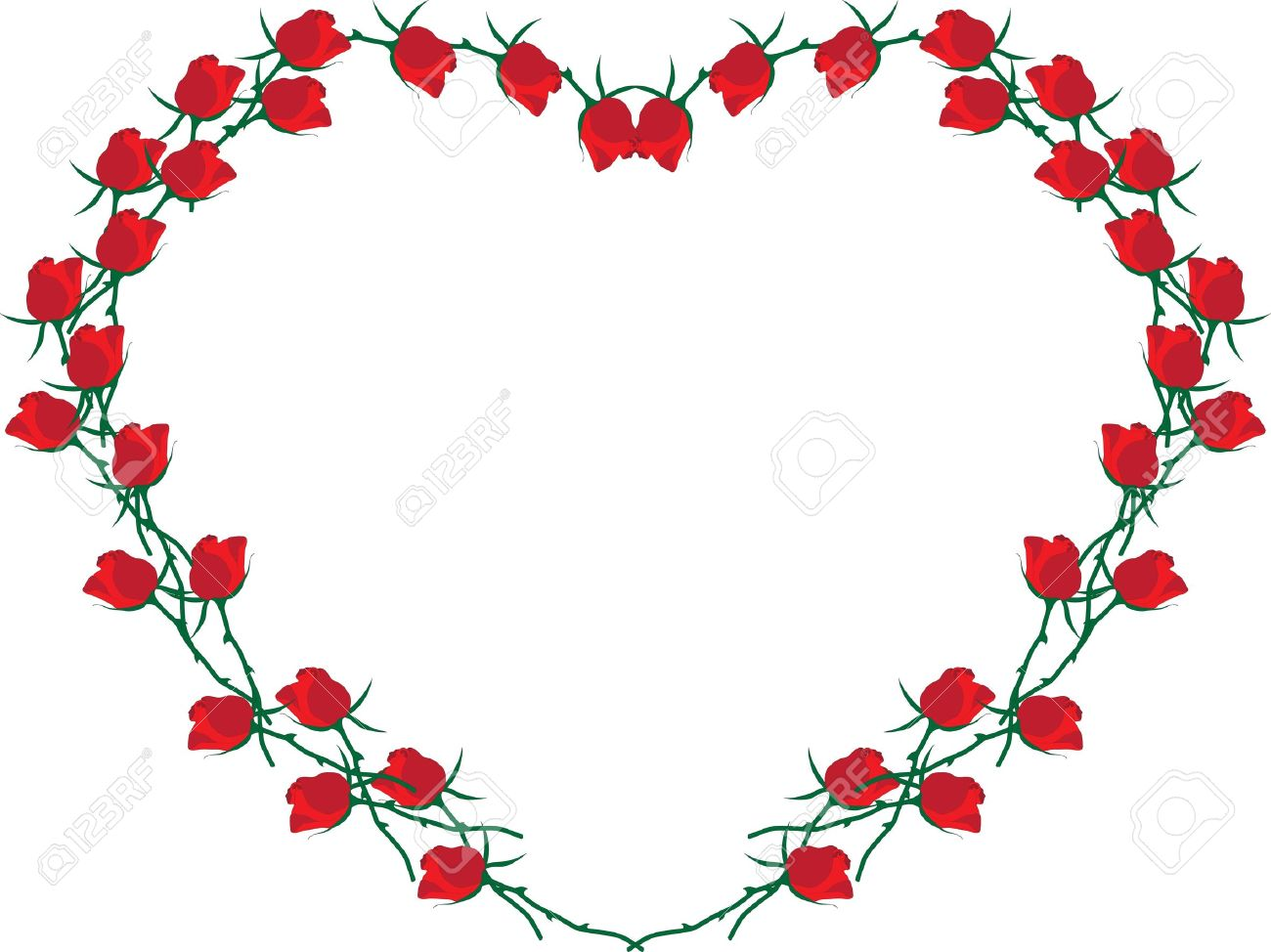 Frame In The Form Of The Heart Heart Of Red Roses Royalty Free ...