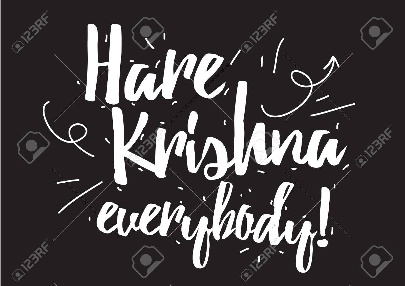Hare krishna everybody inscription greeting card with calligraphy hare krishna everybody inscription greeting card with calligraphy hand drawn design elements black kristyandbryce Gallery