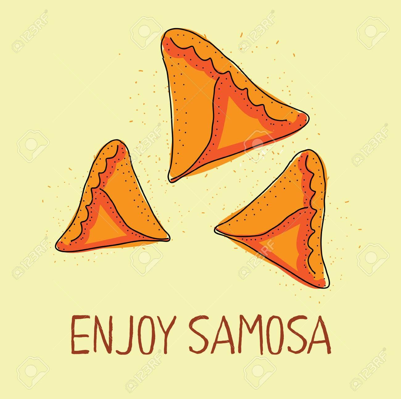 Icono Samosa. Cocina Oriental. Dibujado A Mano Ilustración. Comida ...