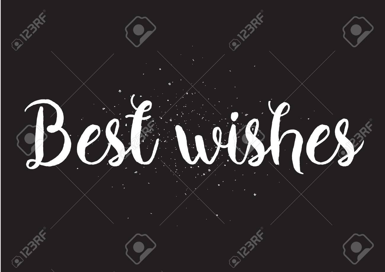 Best wishes inscription greeting card with calligraphy hand