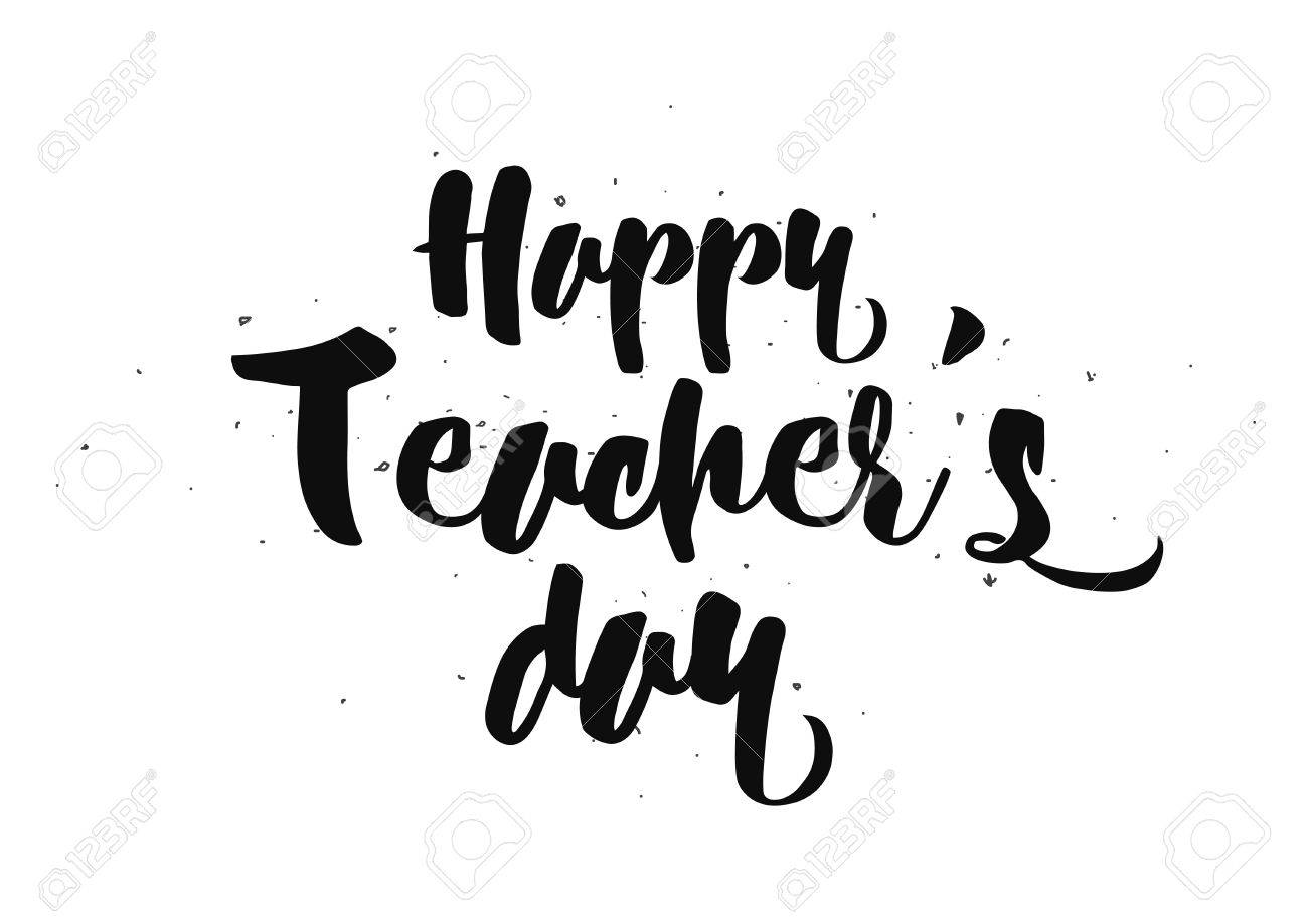 Happy teacher s day inscription greeting card with calligraphy