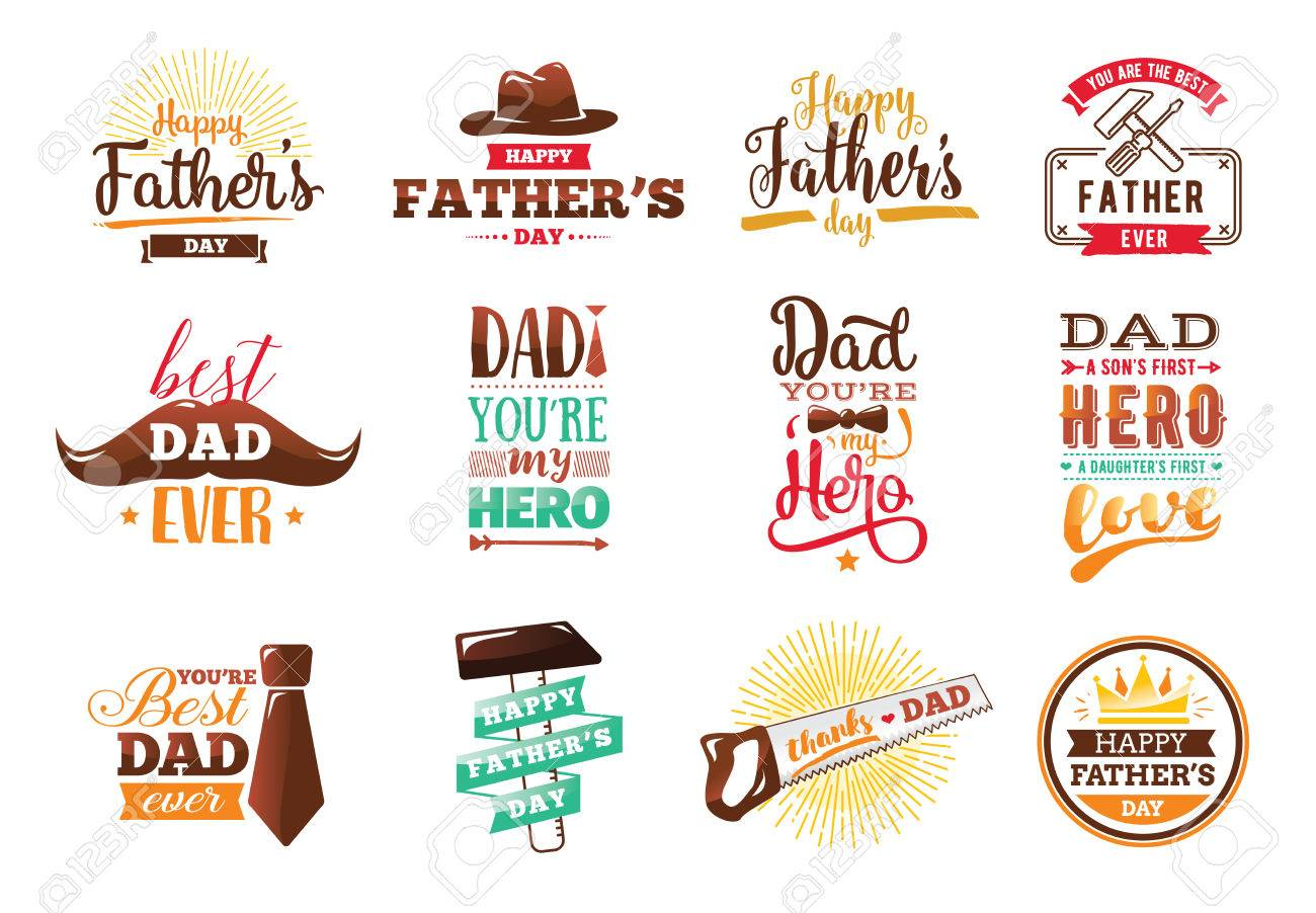 Happy fathers day set vintage lettering for greeting cards vintage lettering for greeting cards banners t shirt kristyandbryce Choice Image