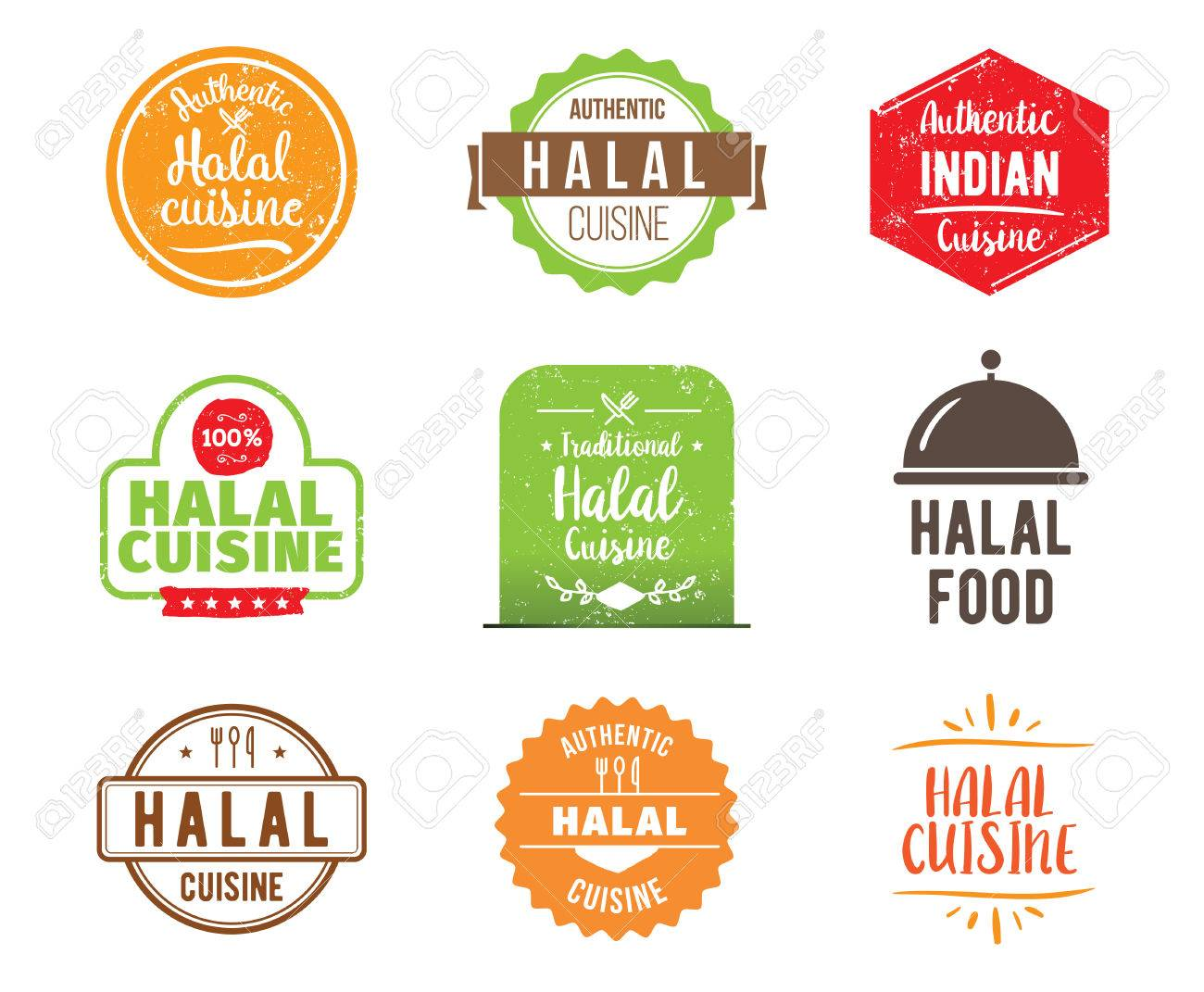 Halal Cuisine Authentic Traditional Food Typographic Design Royalty Free Cliparts Vectors And Stock Illustration Image 58461741