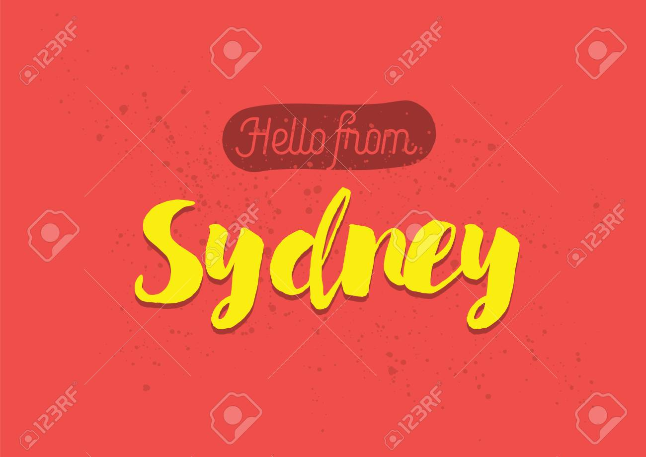 Hello from sydney australia greeting card with typography hello from sydney australia greeting card with typography lettering design hand drawn m4hsunfo