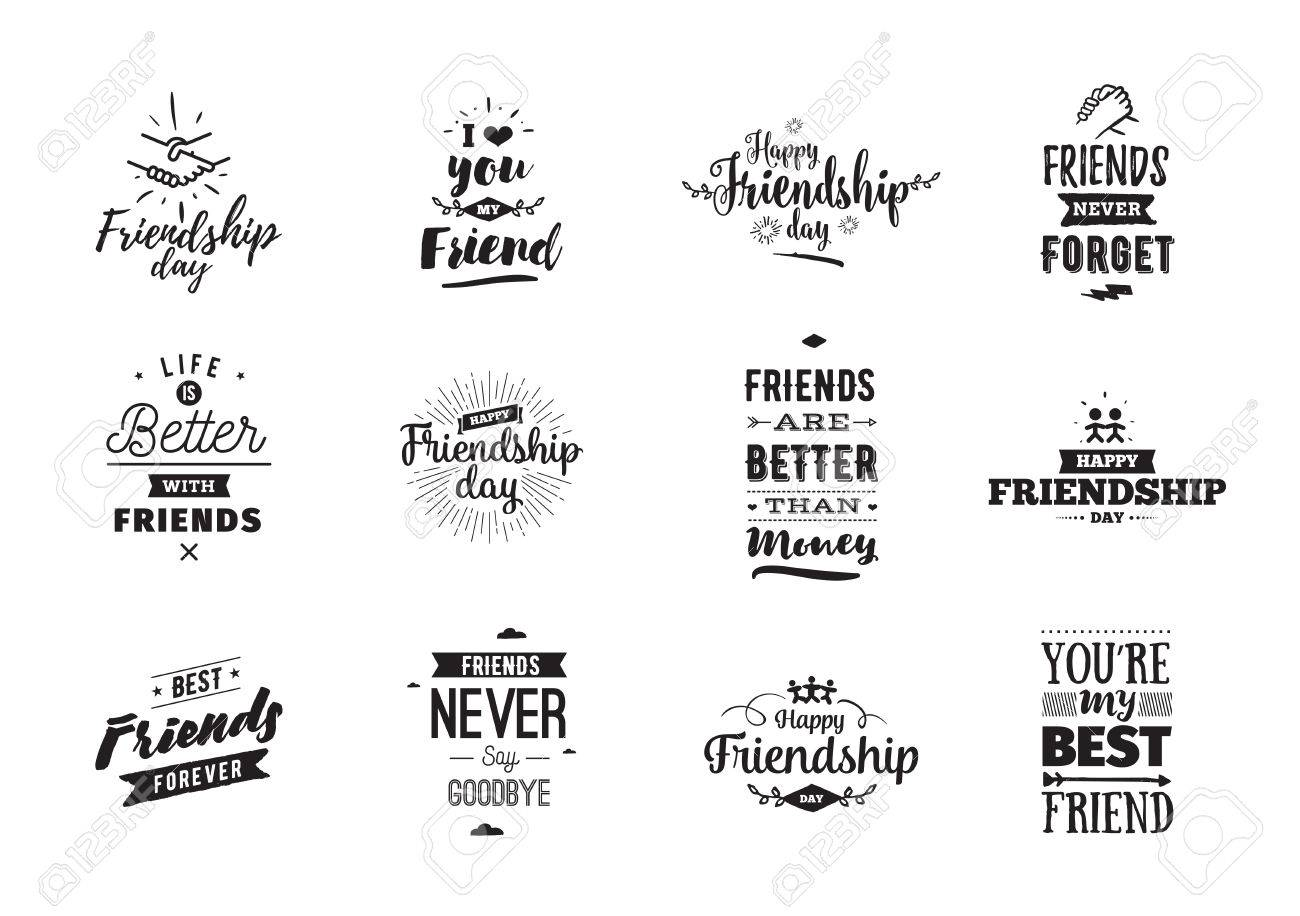 happy friendship day vector typographic design inspirational quotes about friendship usable as greeting cards