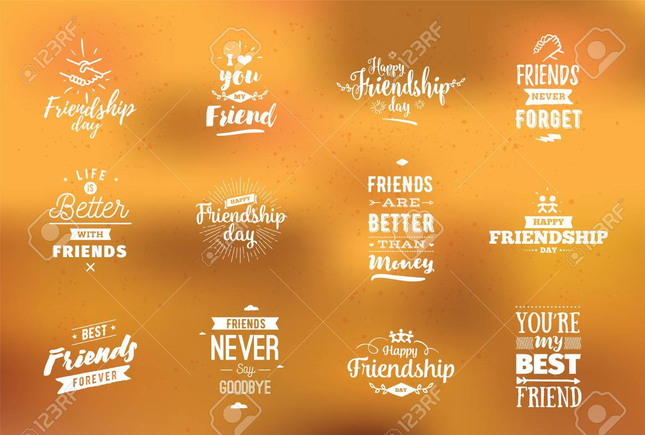 Inspirational Quotes About Friendships Happy Friendship Day Vector Typographic Designinspirational