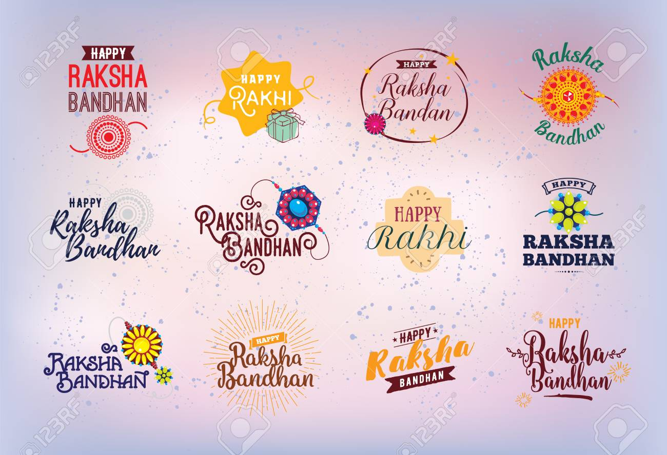 Happy Raksha Bandhan Indian Holiday Vector Typographic Emblems