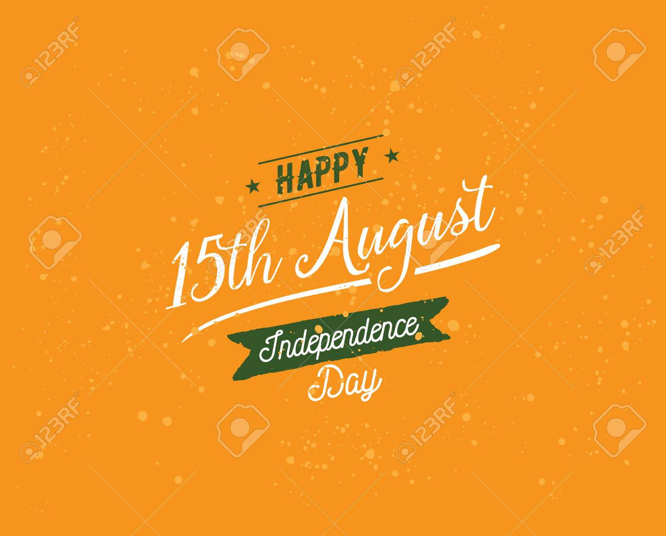 India Independence Day 15th August Vector Typographic Emblem