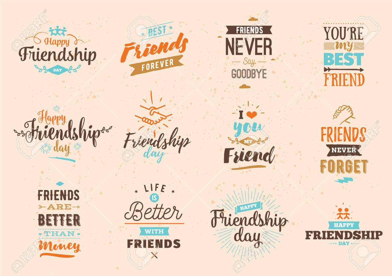 Happy Friendship Day Vector Typographic Colorful Design