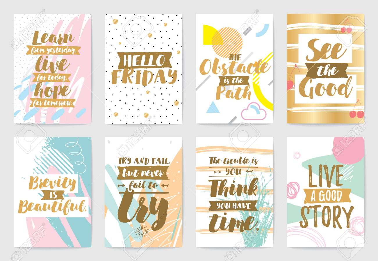 Creative cards with inspirational quotes on abstract geometric