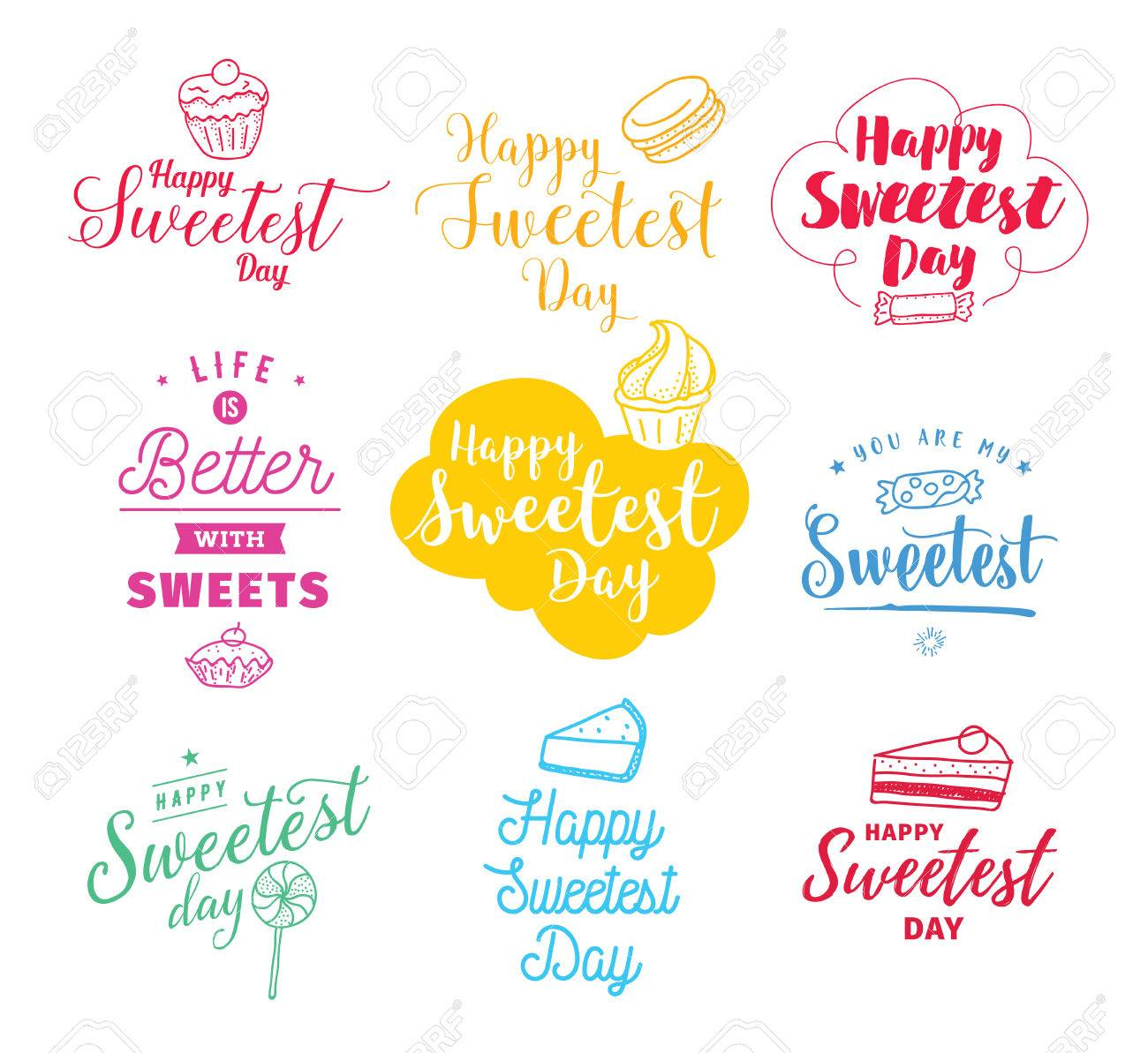 Sweetest day cards topsimages photo stock vector happy sweetest day typography set vector design with hand drawn sweets usable for m4hsunfo