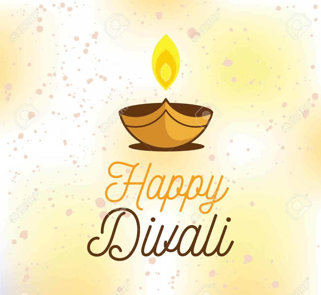 Happy diwali background typographic emblem with lamp vector happy diwali background typographic emblem with lamp vector text design usable for banners m4hsunfo