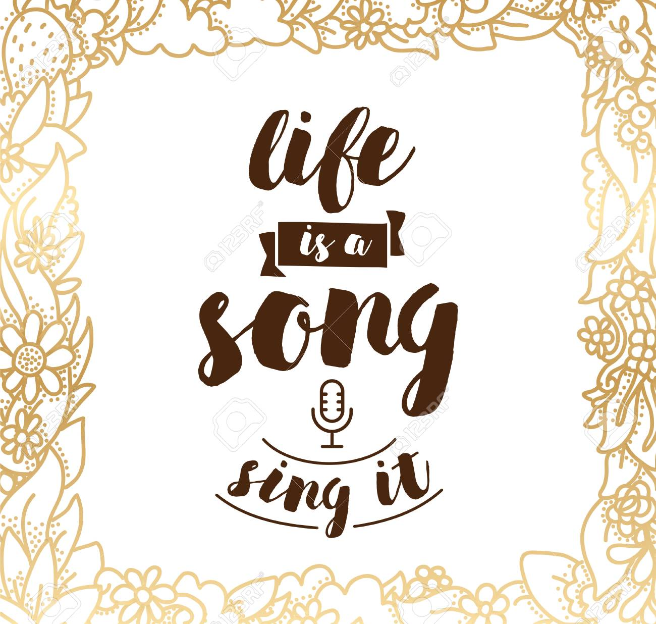 Life Is A Song Sing It Inspirational Quote Motivation Typography