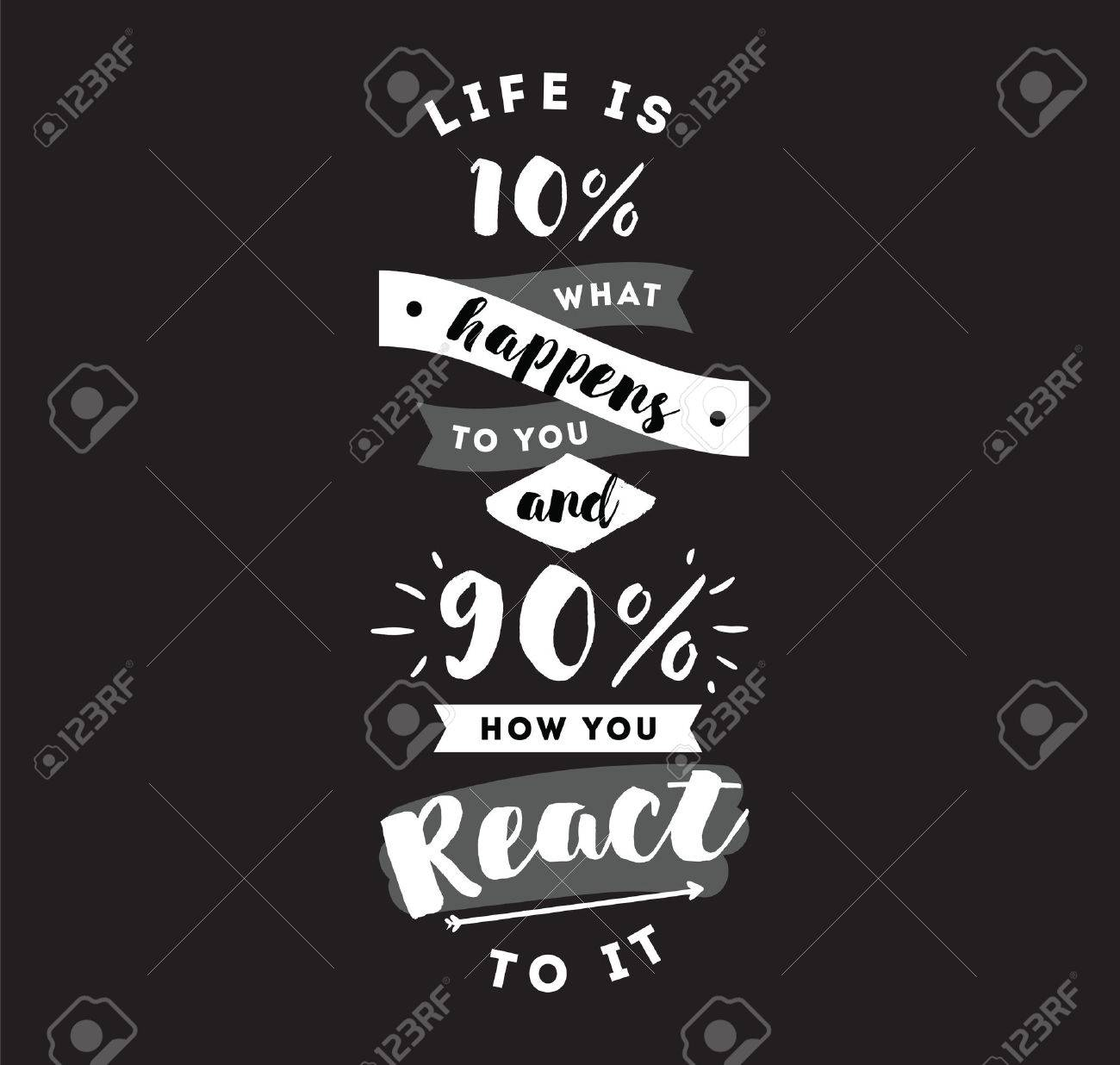 Life Is 10 What Happens To You And 90 How You React To It