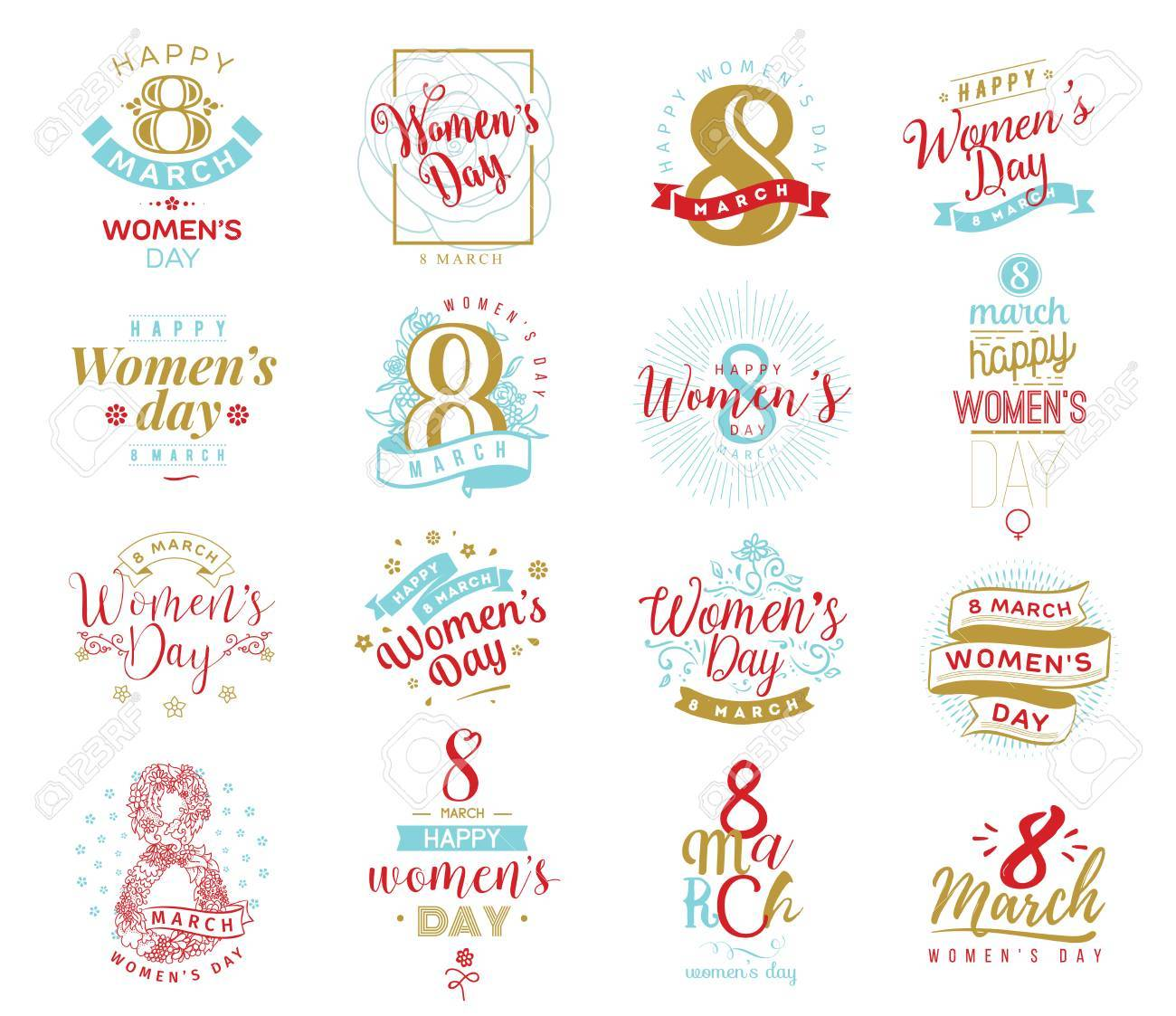 8 March Typography Set Womens Day Vector Typography Text Design