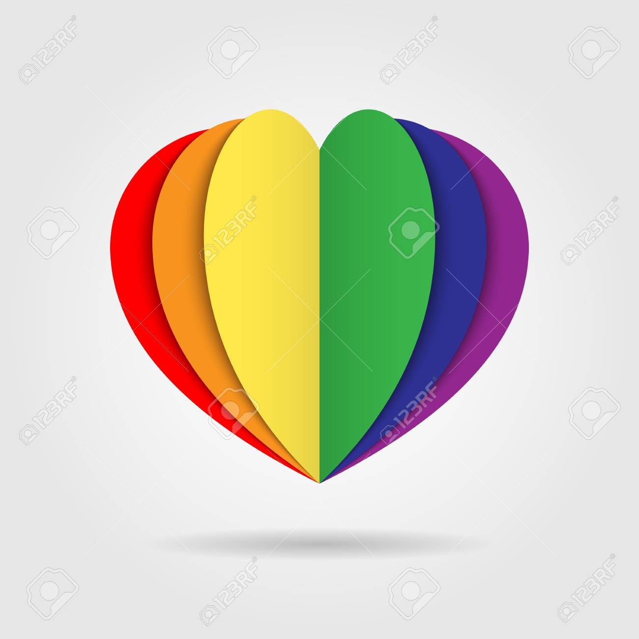 Rainbow Heart Icon Logo On White Background, LGBT Pride Symbol ...