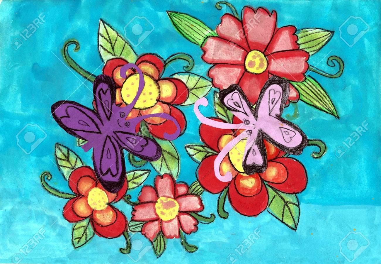 Blume Und Schmetterling Ein Gemälde Des Kindes Mit Kreide Und