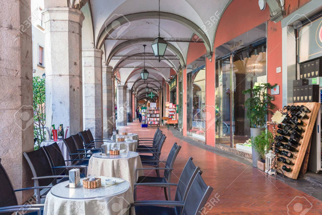 pisa, italy - april 07, 2017: an open cafe in the gallery on