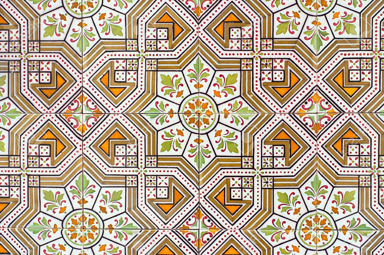 Old Spanish Ceramic Tiles Wall Decoration Stock Photo Picture And