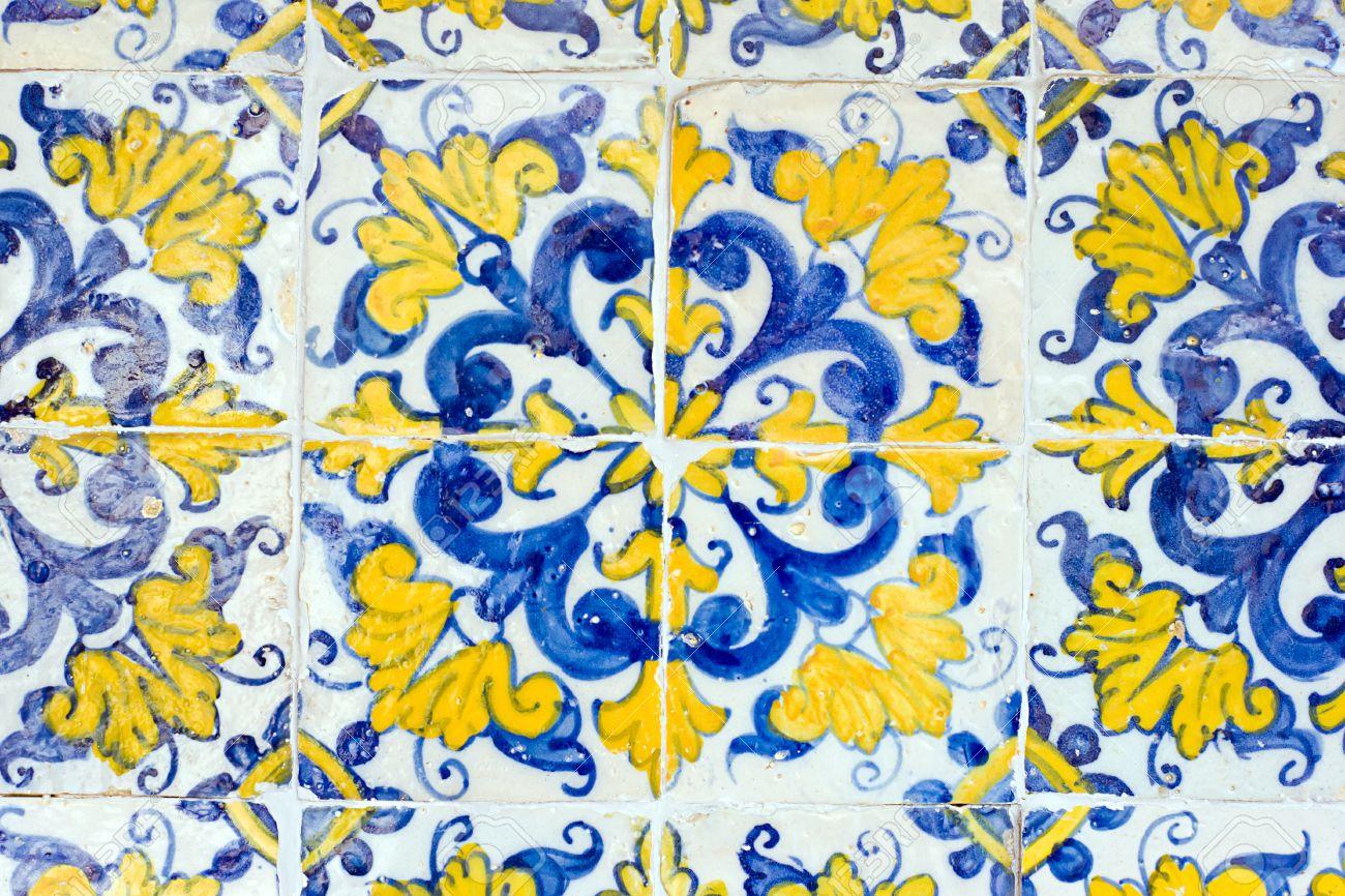Vintage Spanish Style Ceramic Tiles Wall Decoration Stock Photo ...