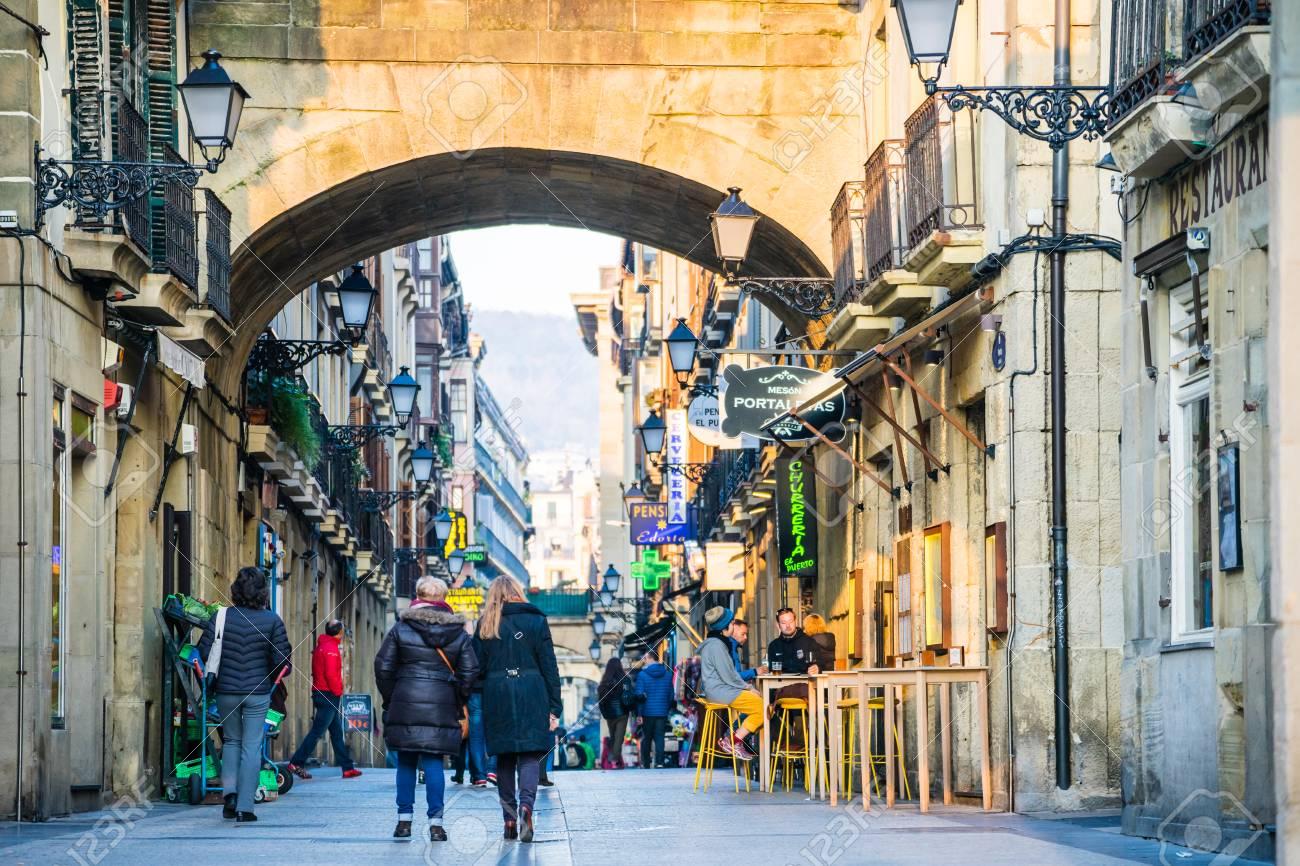 San Sebastian Spain February 22 2017 Typical Street In The