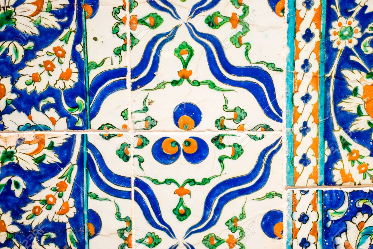 The Blue, White And Orange Colored Ornamental Ceramic Tile Close-up ...